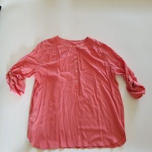 Ann Taylor Loft Tunic Blouse Roll Tab Sleeves XL